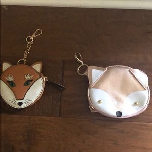Two fox key ring coin purses